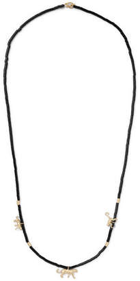 Luis Morais Beaded Wood and 14-Karat Gold Necklace - Black