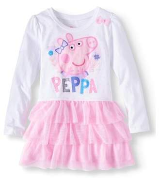 Peppa Pig Long Sleeve Graphic Tutu Dress (Little Girls)