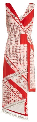 Altuzarra Pavilion Bandana Print Silk Dress - Womens - Red White