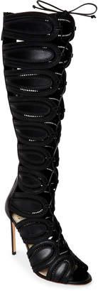 Francesco Russo Black Embroidered Lace-Up Gladiator Knee-High Sandals