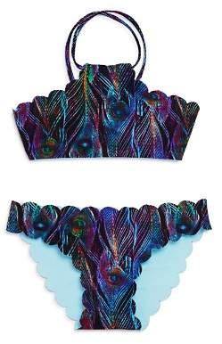 Pilyq Girls' Reversible Seamless Feather-Print 2-Piece Swimsuit - Little Kid, Big Kid