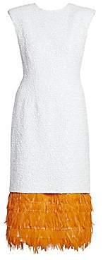 Dries Van Noten Women's Beaded Feather-Hem Cocktail Dress