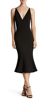 Dress the Population Women's Isabelle Plunging Spaghetti Strap Mermaid Fitted Midi Dress