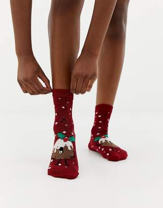 Asos Design DESIGN Holidays pudding glitter sock