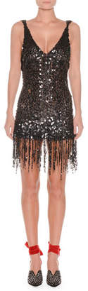 ATTICO Deep-V Sequin Open-Back Fringe-Hem Cocktail Dress