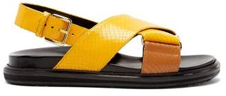 Marni Fussbett Snake Effect Leather Sandals - Womens - Yellow