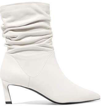 Stuart Weitzman Demibenatar Ruched Leather Boots - White