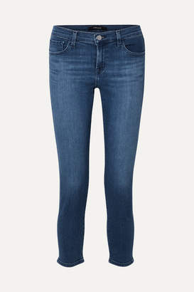 J Brand Sadey Cropped Mid-rise Slim-leg Jeans - Mid denim