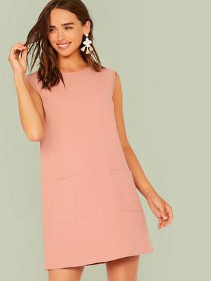 Shein Solid Pocket Patched Tunic Dress