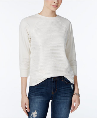 Tommy Hilfiger Eyelet Contrast Raglan Sweater, Only at Macy's $59.50 thestylecure.com