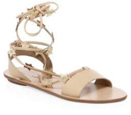 Loeffler Randall Women's Star Leather Ankle-Strap Sandals - Wheat - Size 5.5