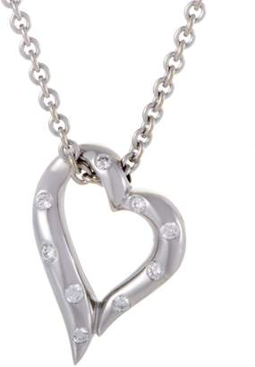Bulgari Boucheron 18K White Gold Diamond Heart Pendant Necklace