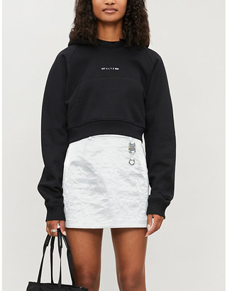 Alyx Cropped embroidered-branding cotton-blend hoody