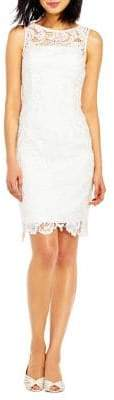 Adrianna Papell Lace & Satin Illusion Sheath Dress
