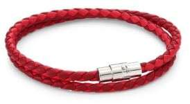 Saks Fifth Avenue COLLECTION Red Double Wrap Leather Bracelet