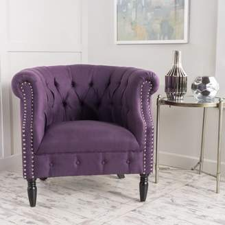 Amalfi by Rangoni Noble House Tufted Fabric Club Chair, Plum
