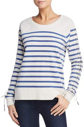 Pam & Gela Lace-Up Sleeve Striped Sweatshirt
