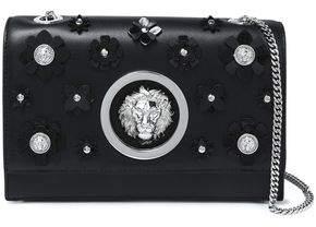 Versace Floral-Appliquéd Leather Shoulder Bag
