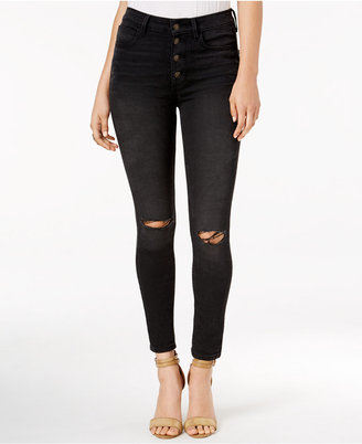 GUESS 1981 Button-Fly Destroy Wash Skinny Jeans $108 thestylecure.com