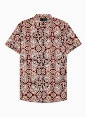 Topman Mens Black Paisley Stretch Skinny Smart Shirt