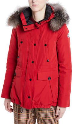 Moncler Macareux Parka Coat w/ Removable Fur Trim