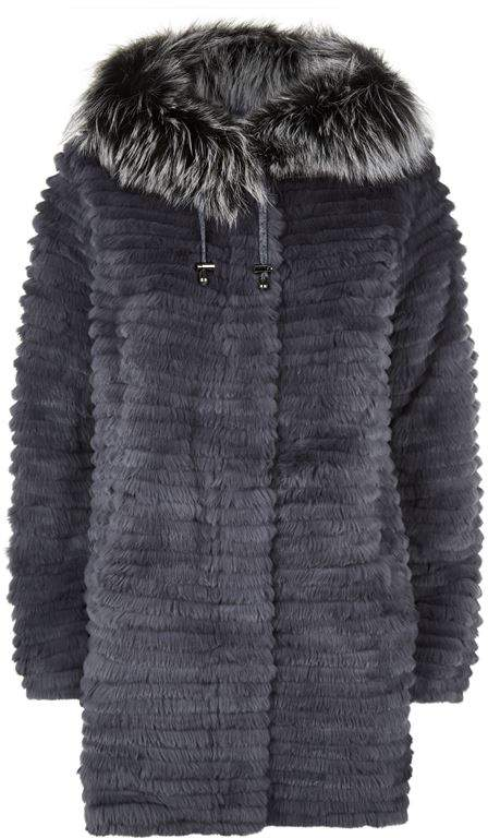 Max & Moi Reversible Rabbit Fur Jacket