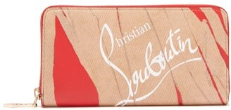 Christian Louboutin Panettone Wallet Zip Around Leather Wallet - Womens - Brown Multi