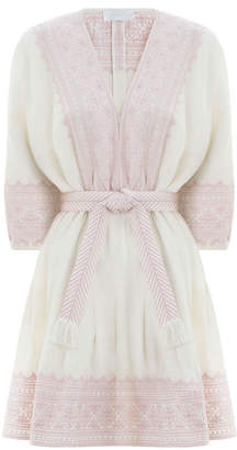 Zimmermann Laelia Embroidered Tuck Dress