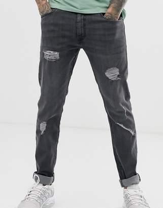 Ringspun super skinny fit distressed jeans