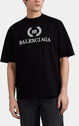 Balenciaga Men's BB-Logo Cotton T-Shirt - Black