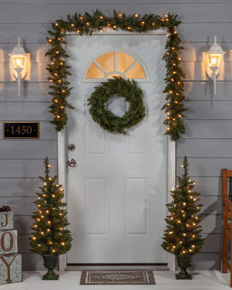 Sterling Tree Company 4Pc Norway Pine Set: Pre-Lit Potted Trees, Unlit Wreath, & Pre-Lit Garland