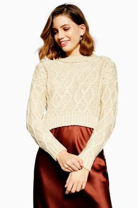 Topshop Petite Cropped Cable Knit Jumper