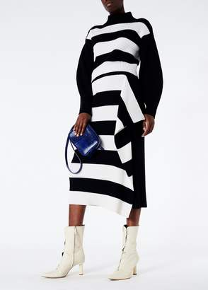 Tibi Stripy Merino Wool Sweater Origami Flap Skirt