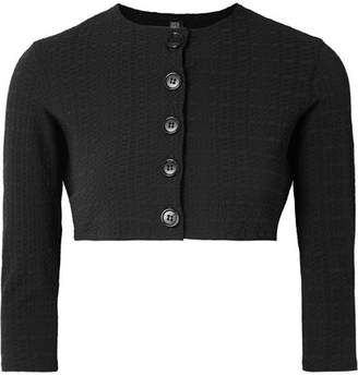 Lisa Marie Fernandez Poppy Cropped Seersucker Cardigan - Black