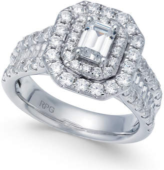 Macy's Diamond Emerald Cut Halo Engagement Ring (2 ct. t.w.) in 14k White Gold