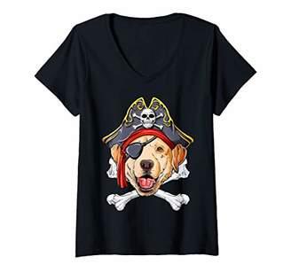 Womens Labrador Pirate Costume Jolly Roger Flag Skull Crossbones V-Neck T-Shirt
