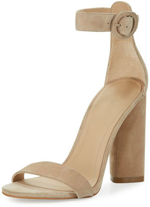 Kendall + Kylie Giselle Suede Chunky-Heel Sandal, Beige $130 thestylecure.com