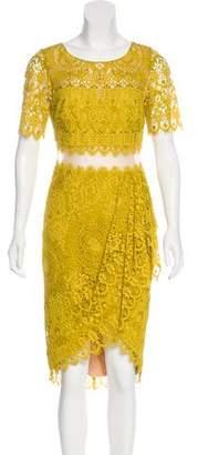 Marchesa Laced Midi Dress
