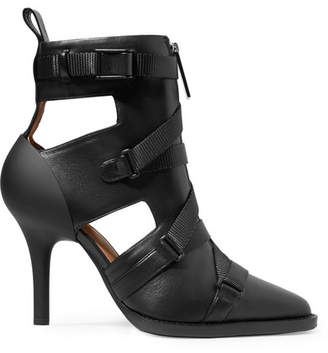 Chloé Tracy Rubber And Canvas-trimmed Leather Ankle Boots - Black