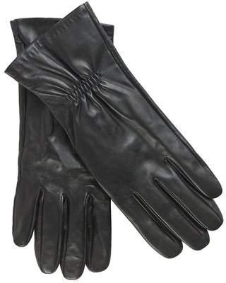 Leather Glove With Ruching