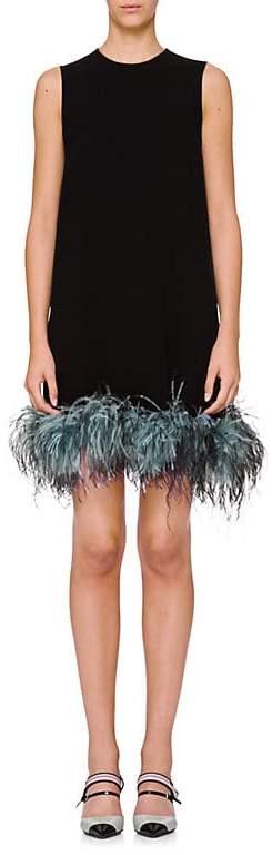 Prada Women's Feather-Hem Crepe Shift Dress