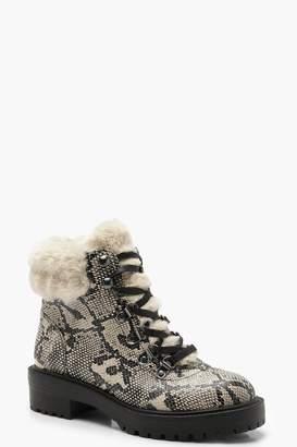 boohoo Snake Print Faux Fur Cuff Hiker Boots