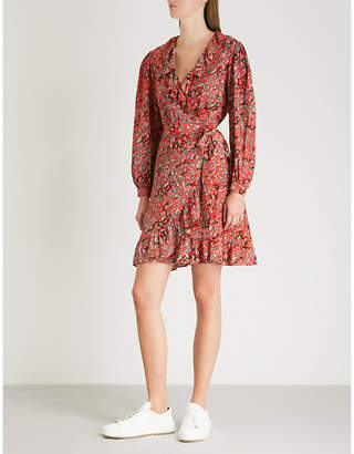 Maje Rosetto ruffle-trim woven wrap dress