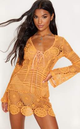 PrettyLittleThing Tangerine Tie Front Flare Sleeve Crochet Lace Bodycon Dress