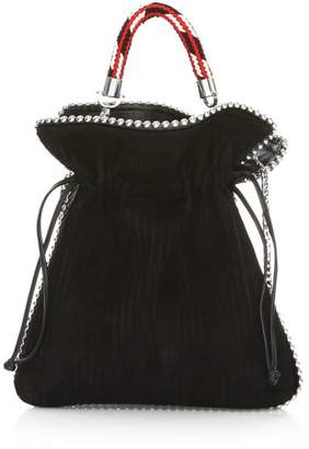 Les Petits Joueurs Small Trilly Metal Piping Suede Bucket Bag
