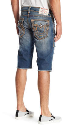 True Religion Distressed Straight Cut Off Shorts