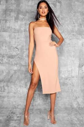 boohoo Tall Ruby Strappy Thigh Split Midi Dress