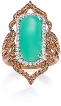 Sara Weinstock Imperial 18K Gold, Chrysoprase And Diamond Ring Size: 7