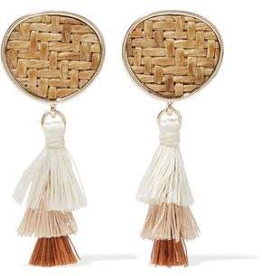 Kenneth Jay Lane Gold-Tone Straw And Tassel Earrings