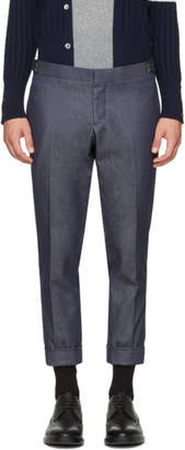 Thom Browne Navy Denim Unconstructed Low-Rise Skinny Trousers